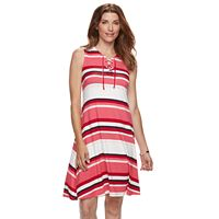 Women's Croft & Barrow® Striped Lace-Up Dress