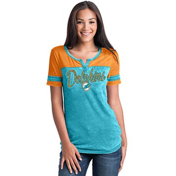 Women's 5th & Ocean by New Era Miami Dolphins Burnout Football Tee