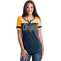 Women's 5th & Ocean by New Era Los Angeles Chargers Burnout Football Tee