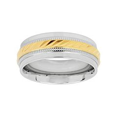 Two Tone Stainless Steel Grooved Men's Wedding Band