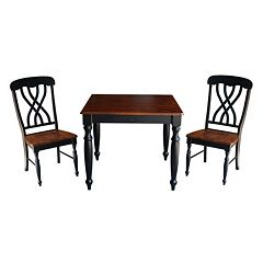 International Concepts Wood Dining Table & Lattice Back Chair 3 pc Set