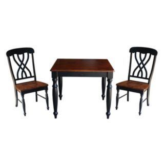 International Concepts Wood Dining Table & Lattice Back Chair 3-piece Set