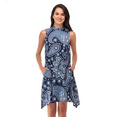Women's Indication Paisley Print Handkerchief Hem Dress