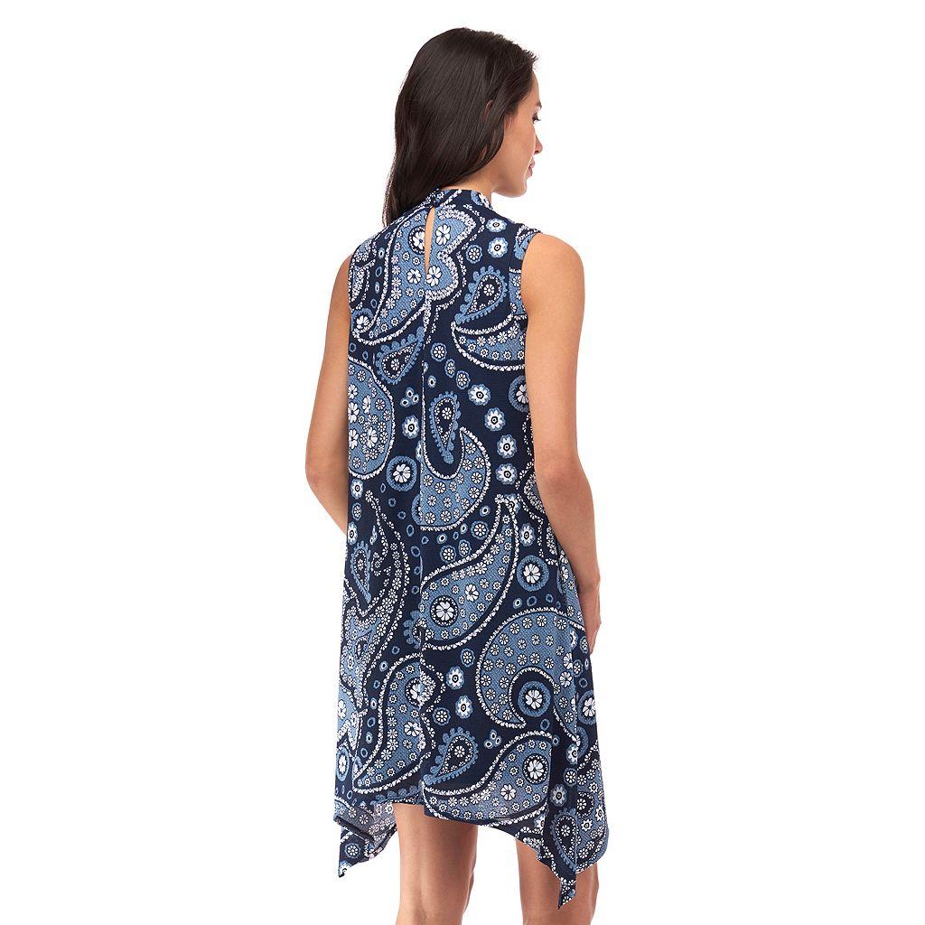 Women's Indication Paisley Print Handkerchief Hem Dress