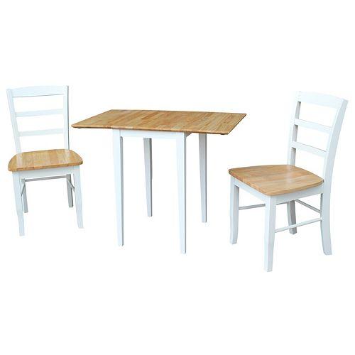 International Concepts Dual Drop Leaf Dining Table & Slat Back Chair 3-piece Set