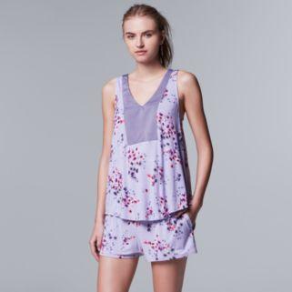 Women's Simply Vera Vera Wang Pajamas: Evening Oasis Tank & Boxer Shorts PJ Set
