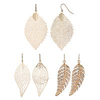 Mudd® Openwork Leaf Drop Earring Set