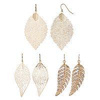 Mudd® Openwork Leaf Drop Earring Set