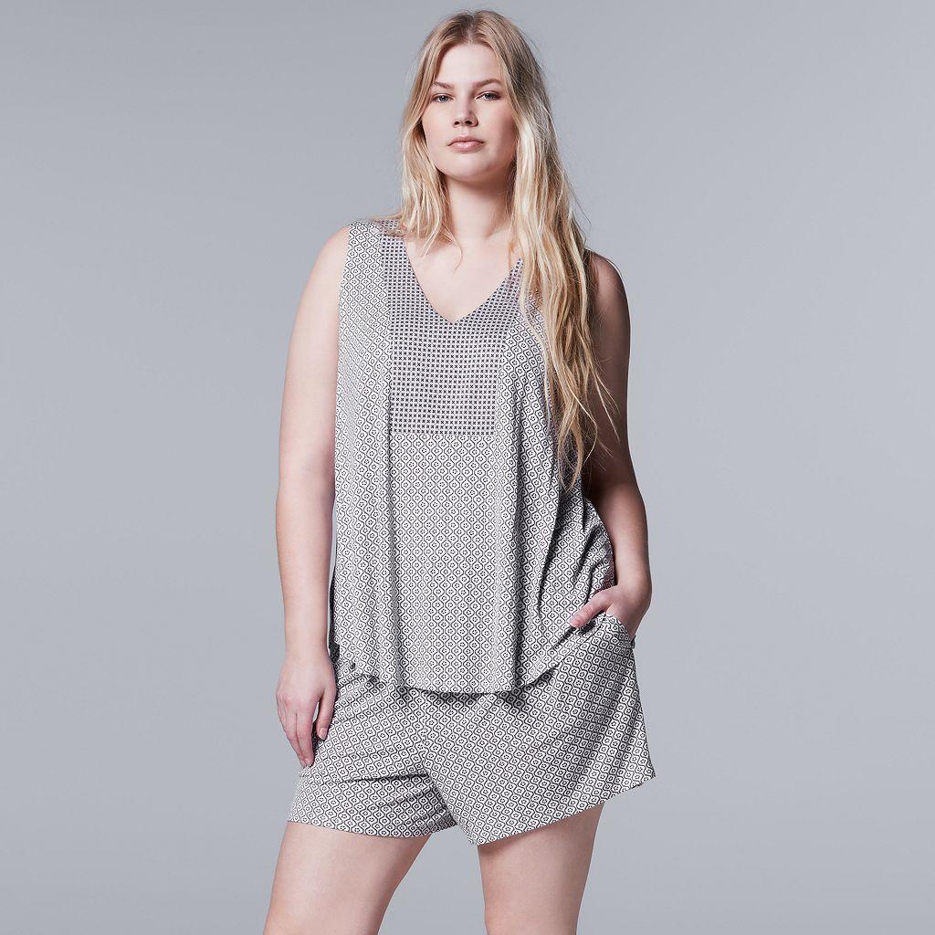 Plus Size Simply Vera Vera Wang Pajamas: Evening Oasis Tank & Boxer Shorts PJ Set