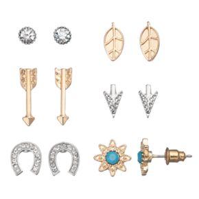 Mudd® Starburst, Horseshoe, Arrow & Leaf Earring Set