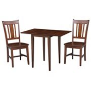 International Concepts Sam Remo Dual Drop Leaf Dining Table & Chair 3 pc Set