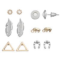 Mudd® Elephant, Horseshoe & Feather Earring Set