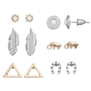 Mudd® Elephant, Horseshoe & Feather Earring Set