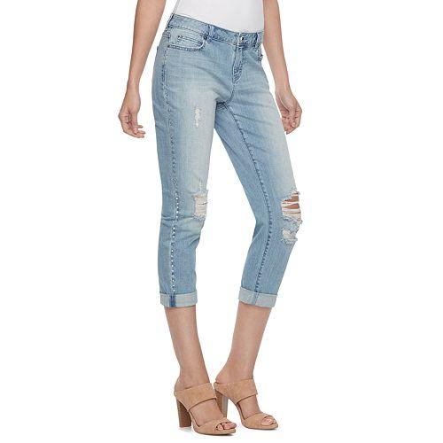 Petite Jennifer Lopez Embellished Boyfriend Jeans