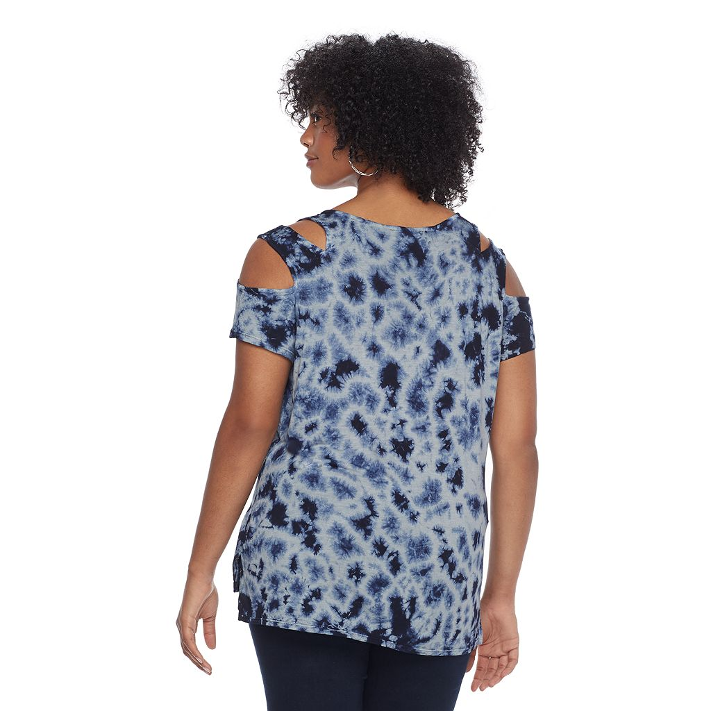 Plus Size Rock & Republic® Tie-Dye Cold Shoulder Tee