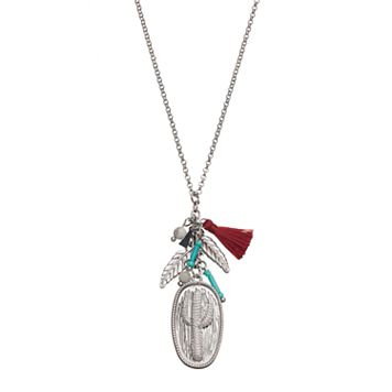 Mudd® Cactus, Feather & Tassel Charm Necklace