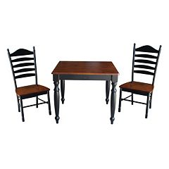 International Concepts Wood Dining Table & Slat Back Chair 3 pc Set