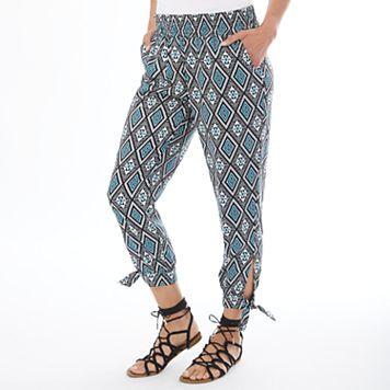 Women's Apt. 9® Tile Print Smocked Soft Pants
