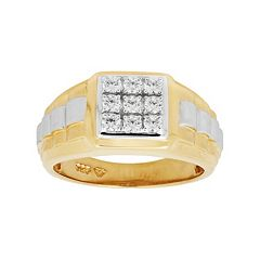 14k Gold Over Silver & Sterling Silver Cubic Zirconia Men's Square Ring