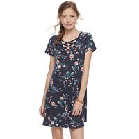 Juniors' Love Fire Criss-Cross Ribbed Swing Dress