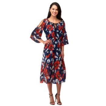 Women's Indication Cold-Shoulder Printed Midi Dress