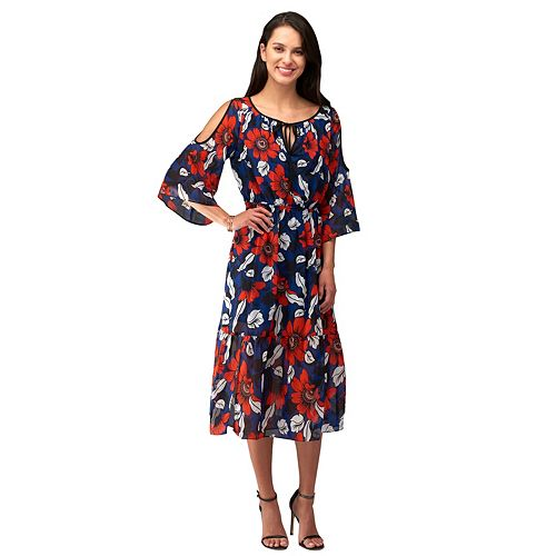 Women's Indication Cold-Shoulder Printed Midi Dress