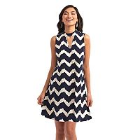 Women's Indication Keyhole Chevron A-Line Dress