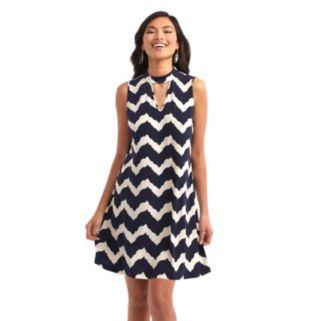 Women's Indication Keyhole Chevron A-Line Dress