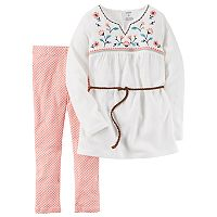 Girls 4-8 Carter's Embroidered Top & Leggings Set
