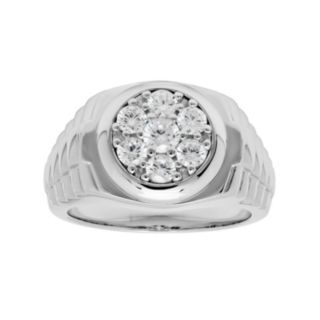 Sterling Silver Cubic Zirconia Men's Circle Ring