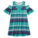 Girls 7-16 & Plus Size Mudd® Patterned Cold Shoulder Dress