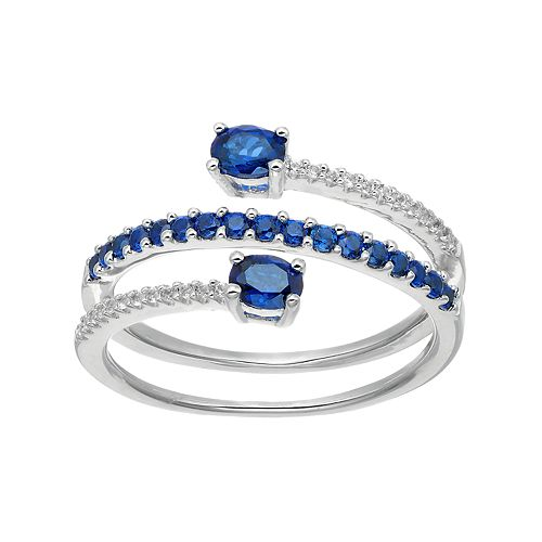 Sterling Silver Lab-Created Blue & White Sapphire Bypass Ring