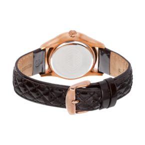 Akribos XXIV Women's Ornate Diamond Leather Watch