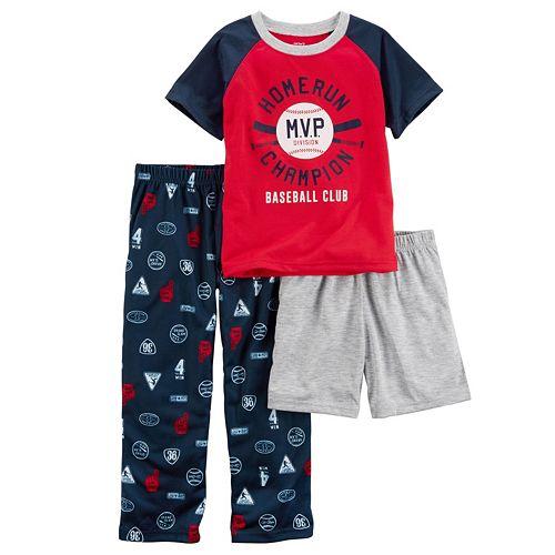 Carters Boys 4-12 Baseball MVP 3-Piece Pajama Set
