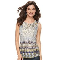 Women's World Unity Crochet Yoke Print Tank