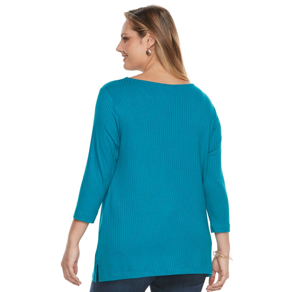 Plus Size Croft & Barrow® Ribbed V-Neck Top