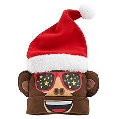 Girls 4-16 Emoji Santa Monkey 3D Hat