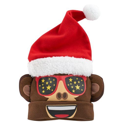 Girls 4-16 Emoji Santa Monkey 3D Hat