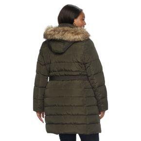 Plus Size Apt. 9® Hooded Faux-Fur Trim Puffer Jacket