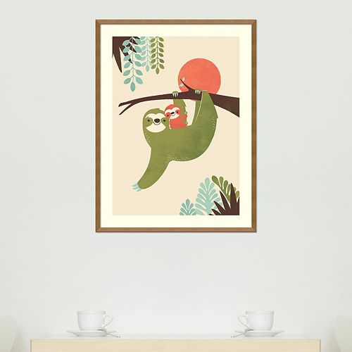 Amanti Art Mama Sloth Framed Wall Art