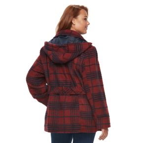 Plus Size d.e.t.a.i.l.s Wool Blend Double Breasted Peacoat