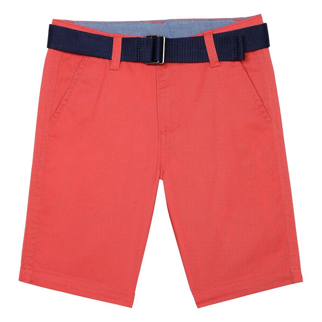 Boys 4-7 Chaps Flat-Front Belted Shorts