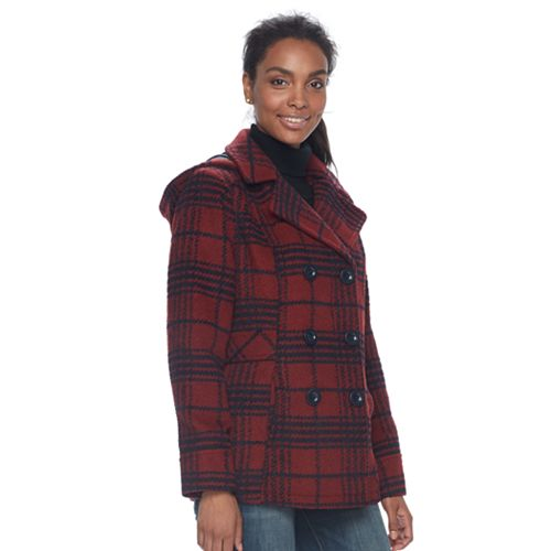 Women's d.e.t.a.i.l.s Hooded Double Breasted Wool Blend Peacoat