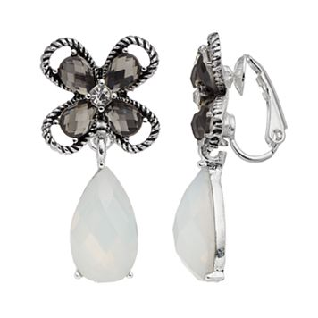 Dana Buchman Flower Teardrop Nickel Free Clip On Earrings
