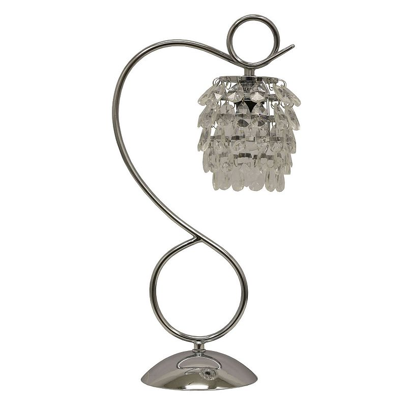 Decor Therapy Chrome Finish Crystal Table Lamp, Grey