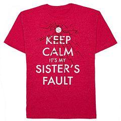 Boys 8-20 'Keep Calm It's My Sister's Fault' Tee