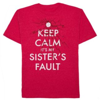 """Boys 8-20 """"Keep Calm It's My Sister's Fault"""" Tee"""