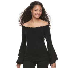 Juniors' Candie's® Bell Sleeve Off Shoulder Top