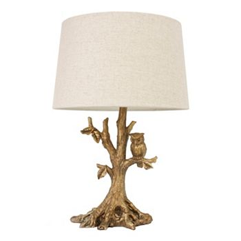 Decor therapy gold finish tree table lamp