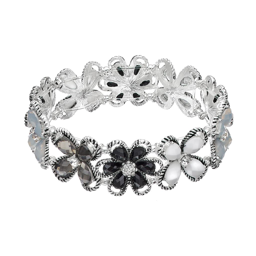 Dana Buchman Black Flower Stretch Bracelet